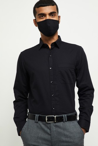 MAX Solid Slim Fit Formal Shirt with Mask