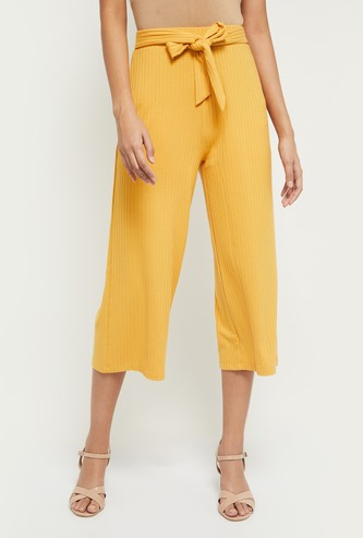 MAX Textured Culottes with Tie-up Detail