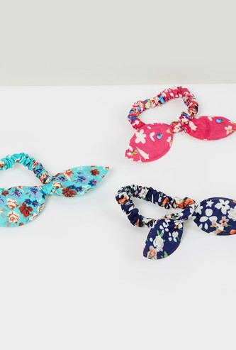 MAX Floral Print Rubber Band with Bow Detail- Pack of 3