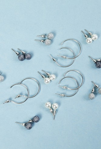 MAX Silver-Toned Earrings- Set of 12