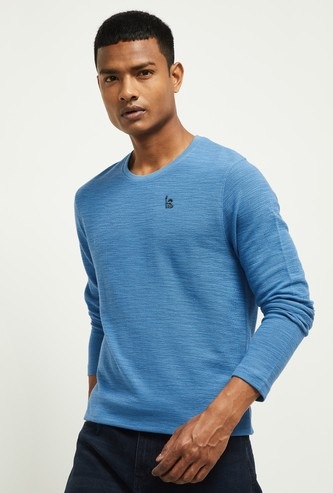 MAX Appliqued Ultra-Slim Full Sleeves T-shirt
