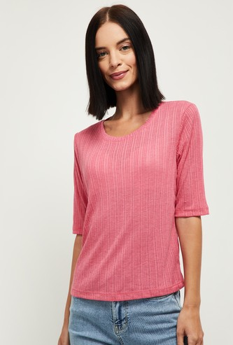 MAX Solid Round Neck Knitted T-shirt