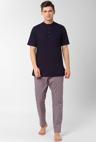 PETER ENGLAND Printed Band Collar Loungewear Shirt with Pyjamas