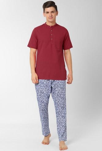 PETER ENGLAND Solid Band Collar Loungewear Shirt with Pyjamas
