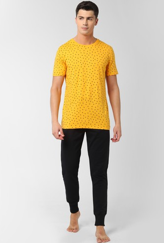 PETER ENGLAND Printed Loungewear T-shirt with Joggers