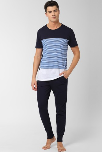 PETER ENGLAND Striped Lounge T-shirt with Solid Joggers