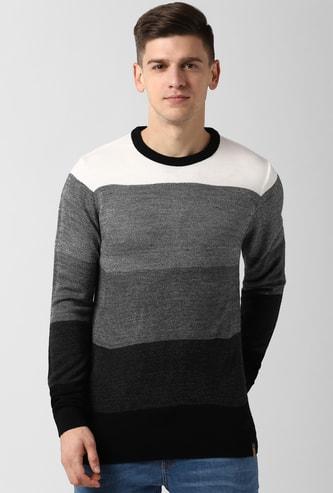 PETER ENGLAND Colourblocked Full Sleeves Sweatshirt