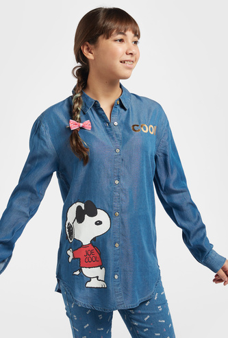 Snoopy Print Denim Shirt with Spread Collar and Long Sleeves