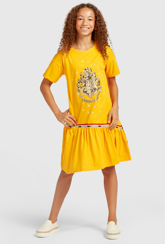 Harry Potter Printed Knee Length Dress with Short Sleeves