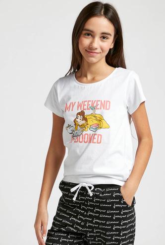Cinderella Print Round Neck T-shirt with Short Sleeves
