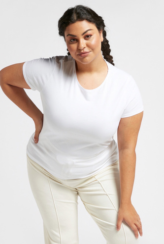 Solid Round Neck T-shirt with Cap Sleeves
