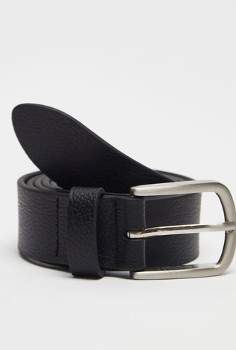 Textured Leather Belt with Pin Buckle