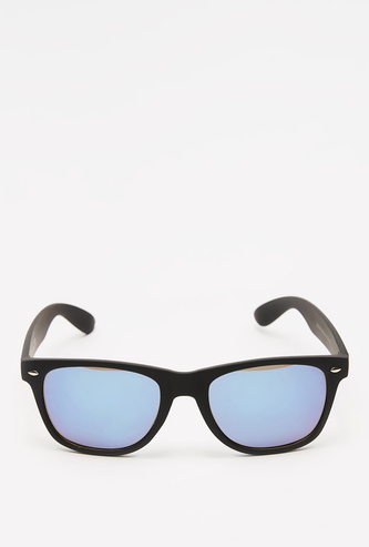 Solid Rectangular Plastic Sunglasses with Nose Pads