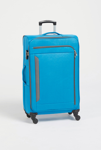 Textured Trolley Suitcase with Retractable Handle