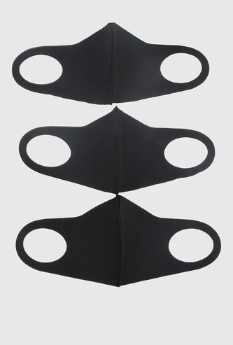 Set of 3 - Solid Anti-Dust Reusable Face Mask with Cutout Ear Loops
