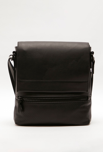 Perforated Crossbody Bag with Adjustable Strap