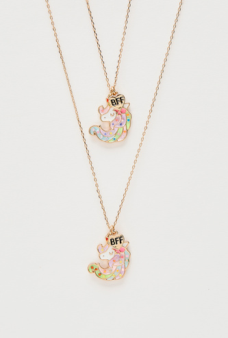 Set of 2 - Unicorn Themed Pendant with Chain Link Necklace