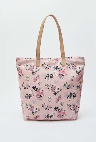 All-Over Floral Print Tote Bag with Zip Closure and Dual Handles