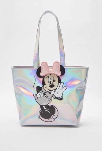 Minnie Mouse Printed Tote Bag with Magnetic Snap Closure