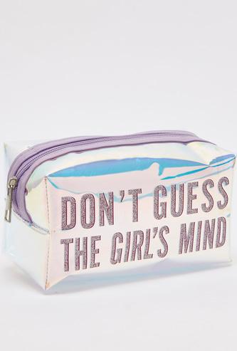 حقيبة صغيرة بسحاب إغلاق وطبعات شعار