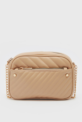Quilted Crossbody Bag with Zip Closure and Metallic Chain