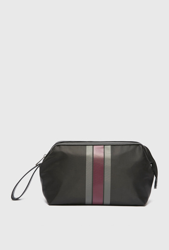 Striped Pouch with Zip Closure and Wrist Strap