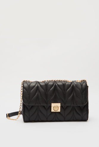 Stitch Detail Crossbody Bag with Metallic Clasp and Chain Strap