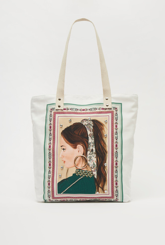 Graphic Print Tote Bag with Handles