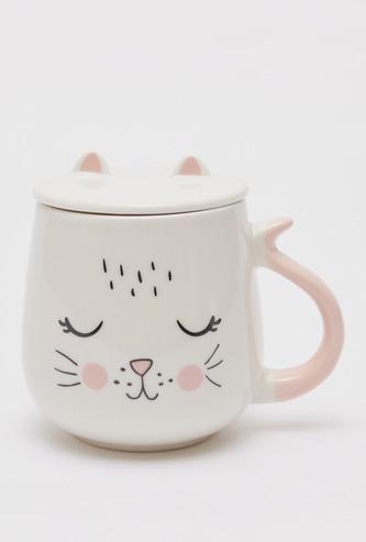 Cat Print Mug with Handle and Lid