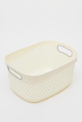 Plastic Storage Basket with Cutout Handles - 28x26x14 cms
