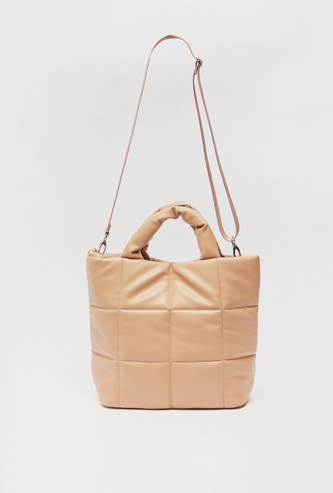Solid Tote Bag with Stitch Detail and Zip Closure