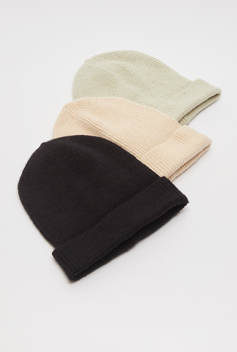 Set of 3 - Textured Beanie Cap with Rolled Hem