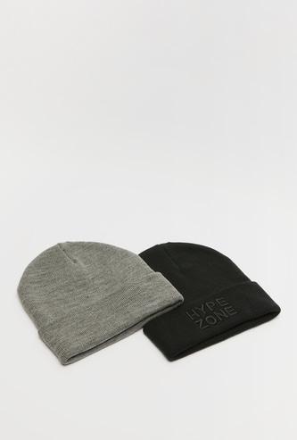 قبعة بيني ألوان متنوعة بأطراف ملفوفة - طقم من قطعتين