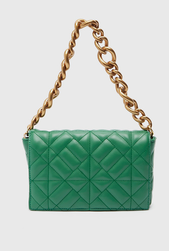 Quilted Handbag with Chainlink Strap