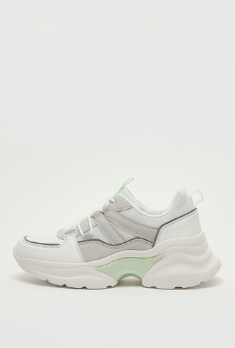Textured Chunky Sneakers with Pull Tab and Lace-Up Closure
