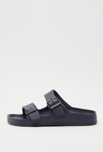 Solid Slides with Buckle Accent