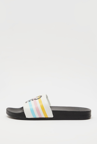 Printed Open Toe Slide Slippers