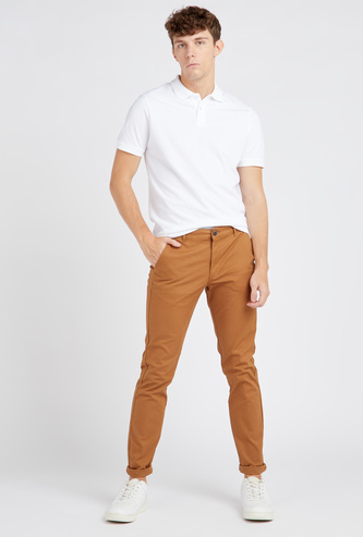 Slim Fit Full Length Solid Chinos with Pocket Detail