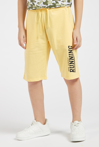 Text Print Knit Shorts with Pocket Detail and Drawstring
