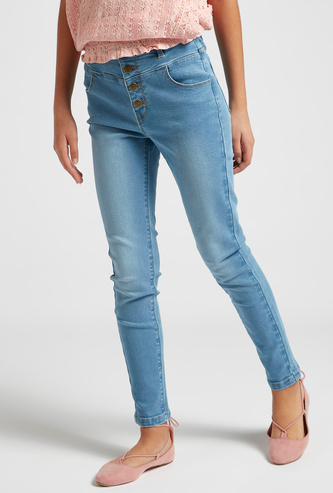 Solid High Waist Jeans with Pockets and Button Closure