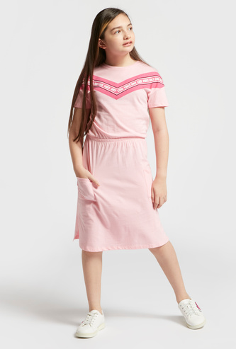 Text Print Panel Dress with Round Neck and Short Sleeves