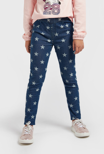 All-Over Star Print Jeggings with Elasticated Waistband