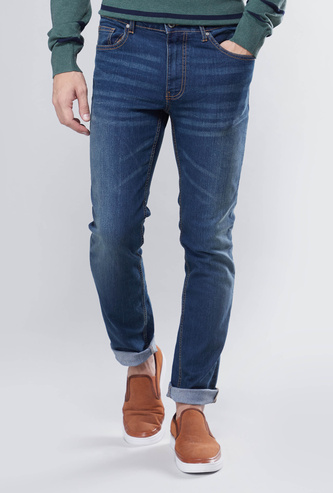 Slim Fit Jeans with Belt Loops and Pocket Detail