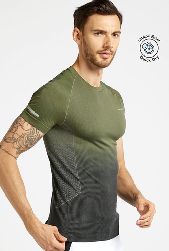 Slim Fit Gradient Compression Printed T-shirt with Short Sleeves