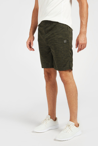 Textured Shorts with Elasticated Waistband and Pockets