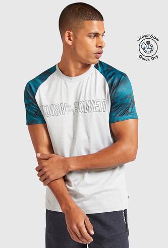 Slogan Print Raglan Sleeve T-shirt with Crew Neck