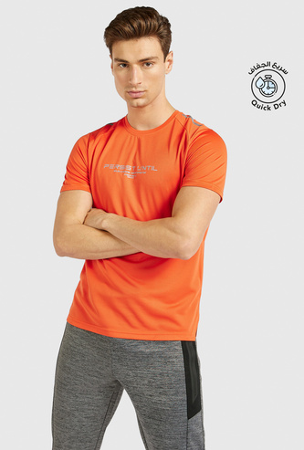 Printed Activewear T-shirt with Crew Neck and Short Sleeves