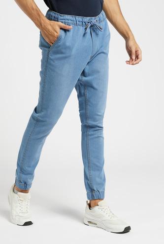 Slim Fit Solid Mid-Rise Denim Jog Pants with Pocket Detail