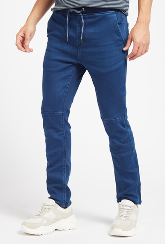 Skinny Fit Solid Denim Jog Pants with Pockets and Drawstring
