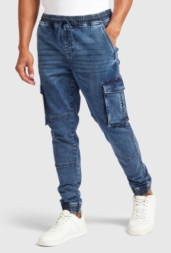 Slim Fit Solid Cargo Denim Jog Pants with Pockets and Drawstring